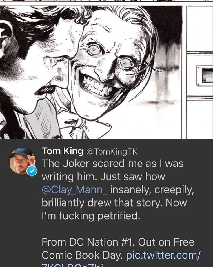 Sneak peek cerita Batman di DC Nation yang akanterbit di Free Comic Book Day bulan Mei besok by Tom King & Clay Mann.  Mungkin ini reaksi Joker pas tau dia ga diundang ke nikahannya BatCat. #komrikmania #dccomics