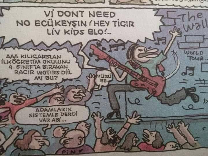 - Vi dont need no ecükeyşın! Hey ticır liv kids elo!..  + Aaa Kılıçarslan ilköğretim okulunu 4. sinifta bırakan Racır Wortırs diil mi bu?  - Yürü be.  + Adamların sistemle derdi var abi...  #karikatür #mizah #matrak #komik #espri #şaka #gırgır #komiksözler