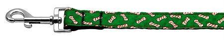 Candy Cane Bones Nylon and Ribbon Collars . 1'' wide x 6' Leash