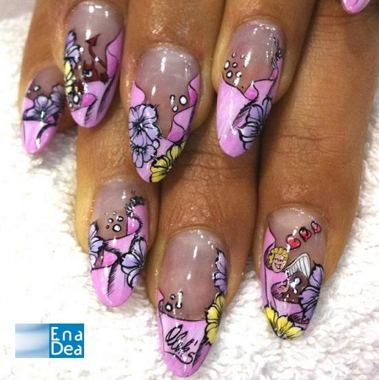 """AleksNailAtelier ha immaginato un """"paradiso rosa"""" con questa decorazione su unghie con forma a mandorla... http://www.decorazioneunghie.com/photo/gallery/Pink-Heaven"""