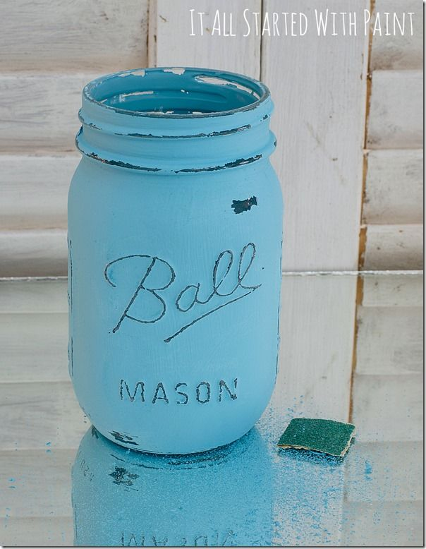 How to distress Mason Jars! Great tutorial! Love the color!