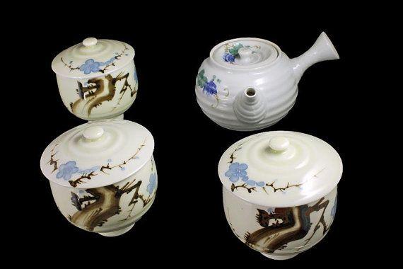 Asian Tea Set Side Handle Teapot Lidded by MountainAireVintage