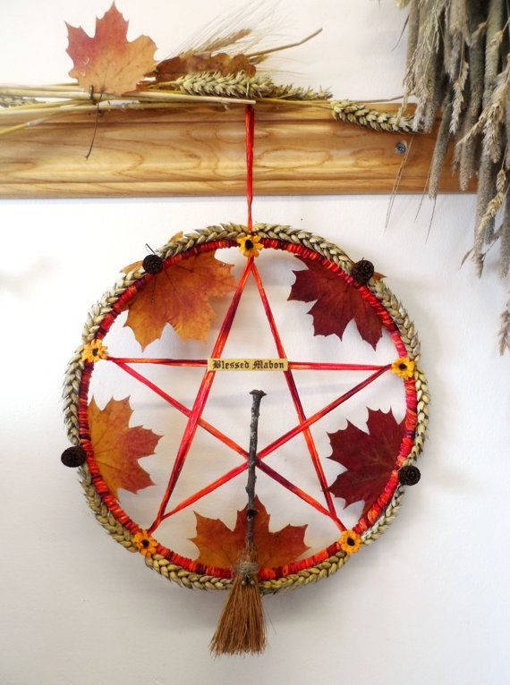 Mabon Fall Pentacle Wreath. Handmade Pagan Wiccan Harvest Autumn Equinox. Handfasting Gift.