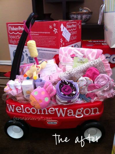 """""""Welcome Wagon"""" for new baby!  Hint Hint...for anyone who can't decide what to get for a baby shower :o) #babyshowergifts"""