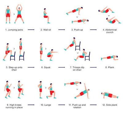 Try this: Do each exercise for 30 seconds, rest 10 seconds, then immediately move to the next. For a real challenge repeat 2, 3, or 4 times. Ready, set, start!