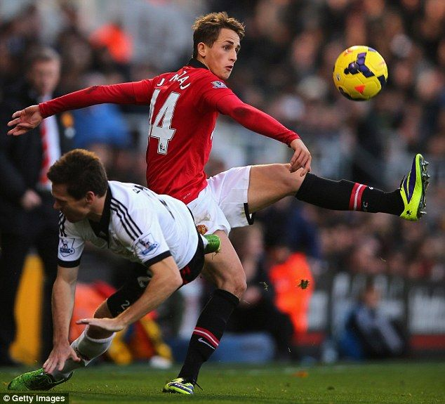 Adnan Januzaj clears his lines after pressure from Sascha Riether