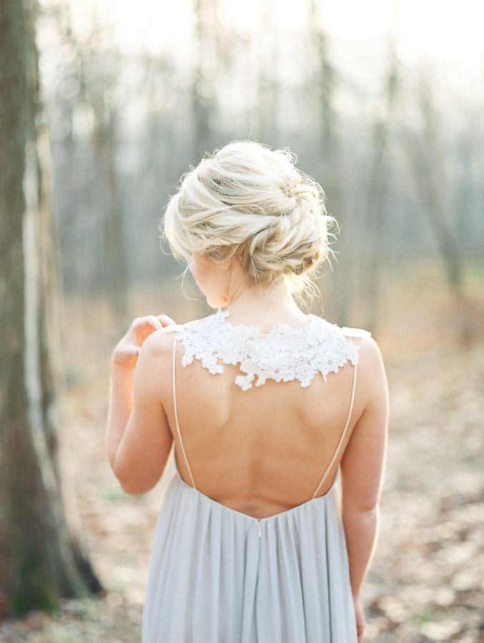 Romantic + unique lace trim detailed wedding dress: http://www.stylemepretty.com/2016/02/18/glamorous-woodsy-winter-wedding-inspiration/ | Photography: Brianna Wilbur - http://www.briannawilbur.com/
