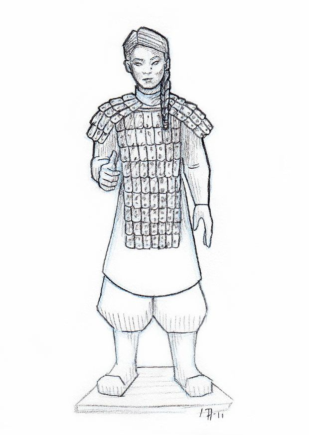 drawings of terracotta warriors