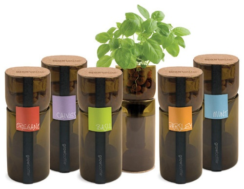 Repurposed from old wine bottles, these individual herb pots are the perfect addition to any sunny and neglected window sill. Unlike the potted herbs that you can buy at the grocery store, these planters are actually decorative objects that will add interest (in a positive way) to your kitchen.
