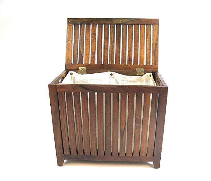 Amazon Com Nova Natural Wooden Hamper With Flip Lid Storage Bin
