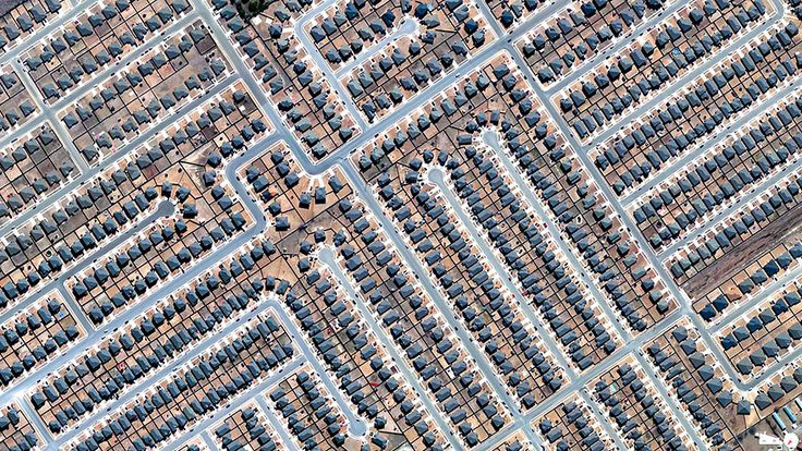 """""""Residential Development in Killeen, Texas - aerial photo from Daily Overview/Digital Globes, via Bored Panda    ...It looks like a very large subdivision with dirt front and back yards. I'm curious why a few of the houses are missing some of their fences..."""