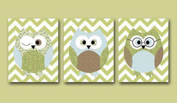 Owls Nursery Baby Boy Nursery Art Nursery wall art by artbynataera, $42.00