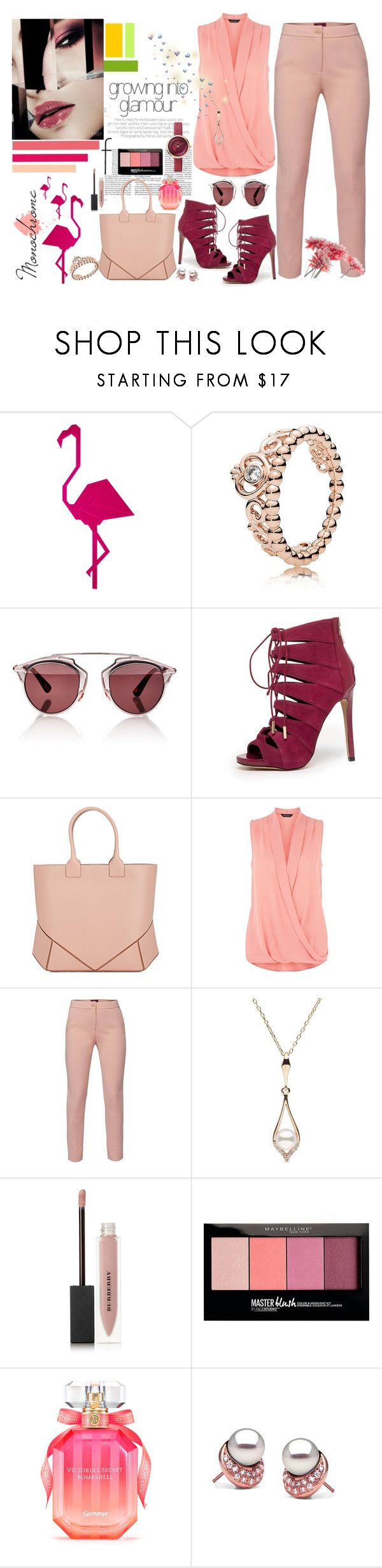 """""""Pink glamour"""" by miles1015 ❤ liked on Polyvore featuring Pandora, Christian Dior, Bebe, Givenchy, WtR, Burberry, Maybelline and Victoria's Secret"""