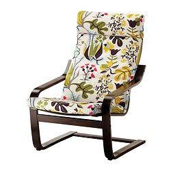 POÄNG Armchair - Blomstermåla multicolour, black-brown - IKEA