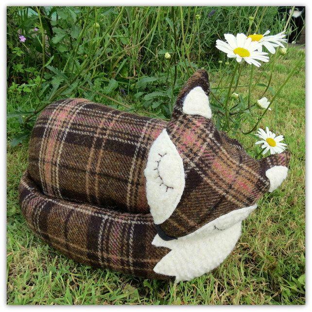 SALE!!!  A large snoozy fox cushion in tartan wool. 38cm in length. £22.00