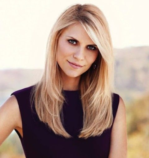 Claire Danes Hairstyles: Side-parted Straight Haircut