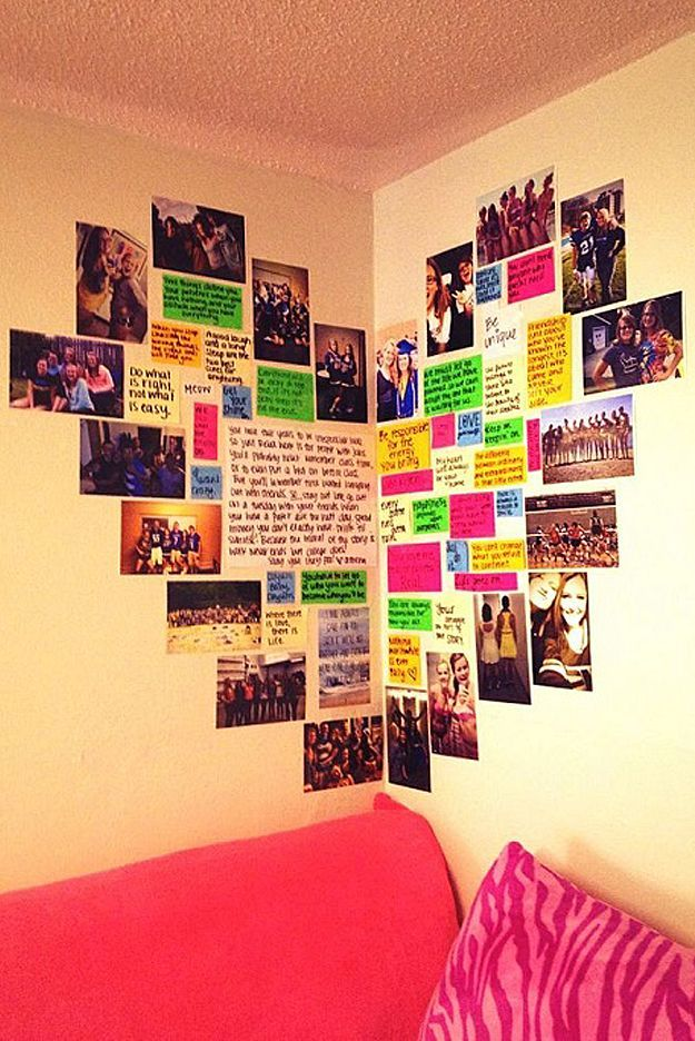 DIY Wall Art Ideas -Heart Shaped Memory Corner is Perfect for Teen Girl Room Decor