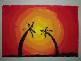 Miss Young's Art Room: 4th Grade Hawaii Sunset Paintings