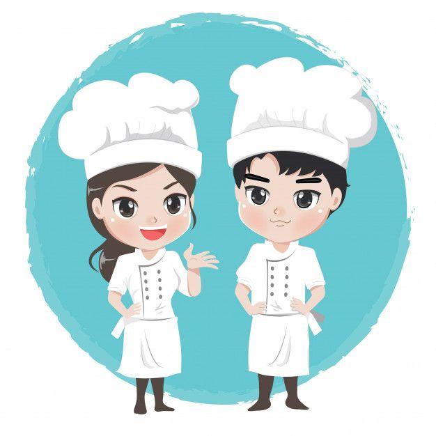 Personagens De Desenhos Animados Do Chef Menino E Menina Ficar Post Profissional Cartoon Boy And Girl Cartoon Chef Logo
