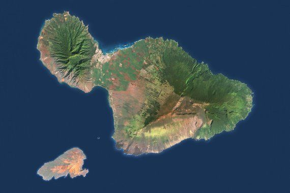 Check Out This Item In My Etsy Shop Https Www Etsy Com Listing 638609720 Maui Satellite Image Kahoolawe Hawaii Kahoolawe Maui County Satellite Image