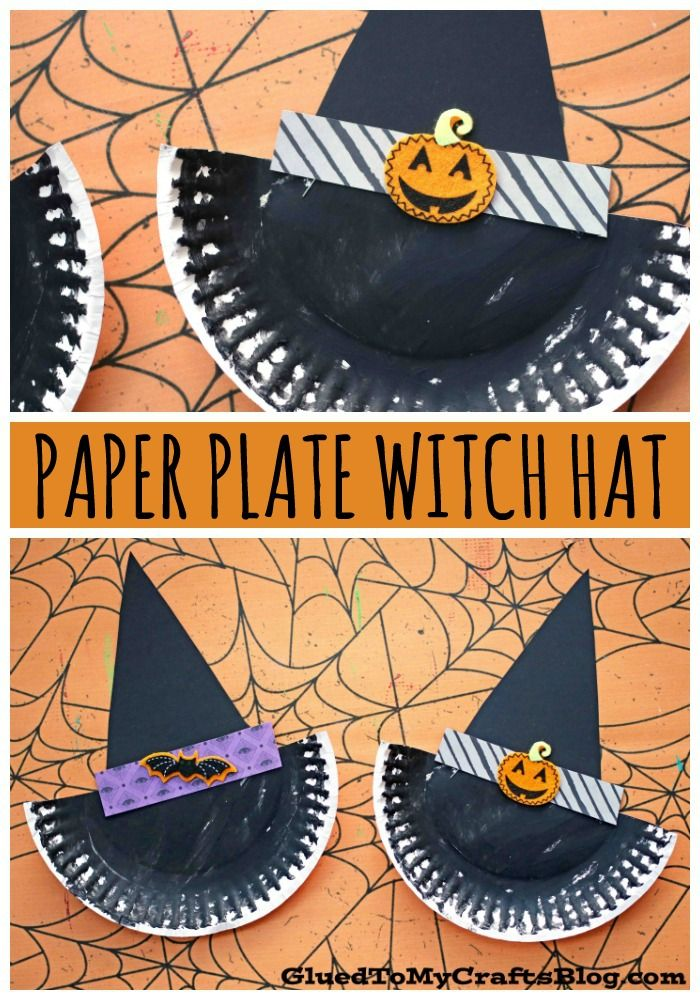 Paper Plate Witch House – Halloween Kid Craft Idea – As Seen On #gluedtomycrafts