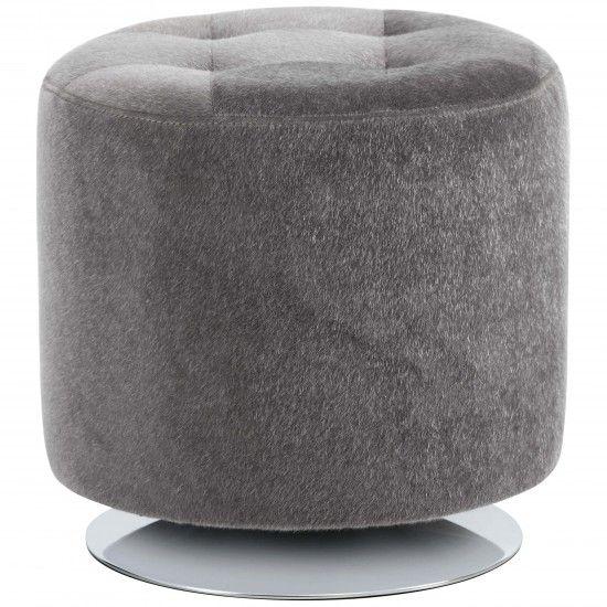 Domani Small Swivel Ottoman Grey Faux Fur Ottoman Free Fabric