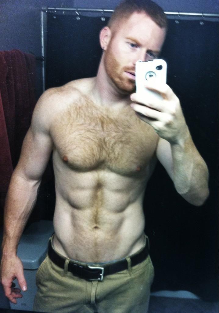 Fat hairy redhead man