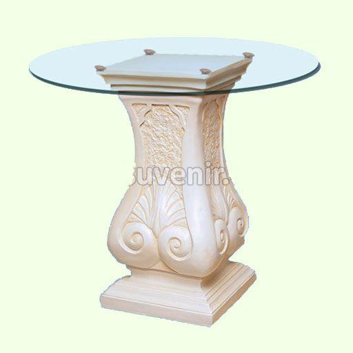 Стеклянный круглый белый стол Колонна. Стеклянные журнальные и кофейные столики