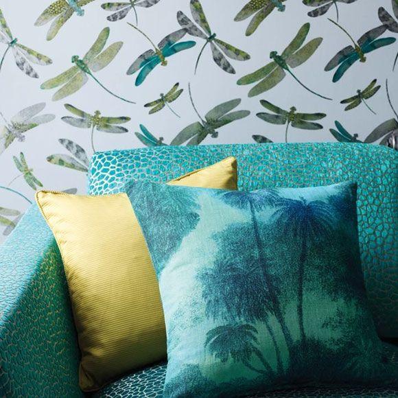 Papier peint Dragonfly Dance – Libellules vertes, grises & bleues