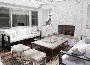 Outdoor Area - White Furniture | Calf Hair Ottomans | Coral Accents | Beach Style | Electric Fireplace