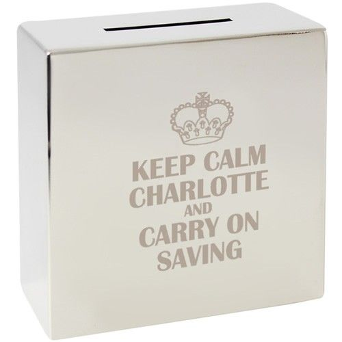 Personalised Keep Calm Silver Money Box  from Personalised Gifts Shop - ONLY £19.99