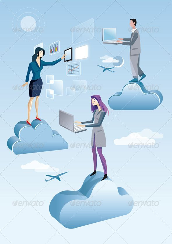 """Jesús Sanz. Illustración de la serie """"Cloud computing."""