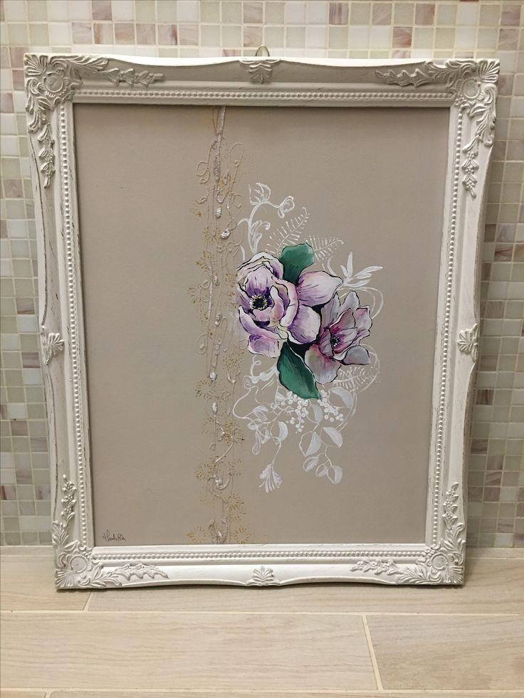 Abstract flowers acrilic paint