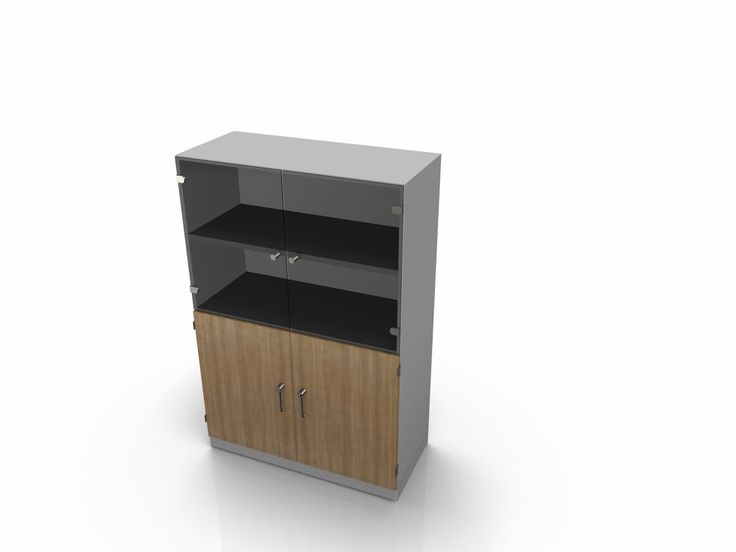 Munus tall cupboard/bookcase combined with 70mm base plinth, Low double door cupboard below with once shelf and bookcase above with one shelf