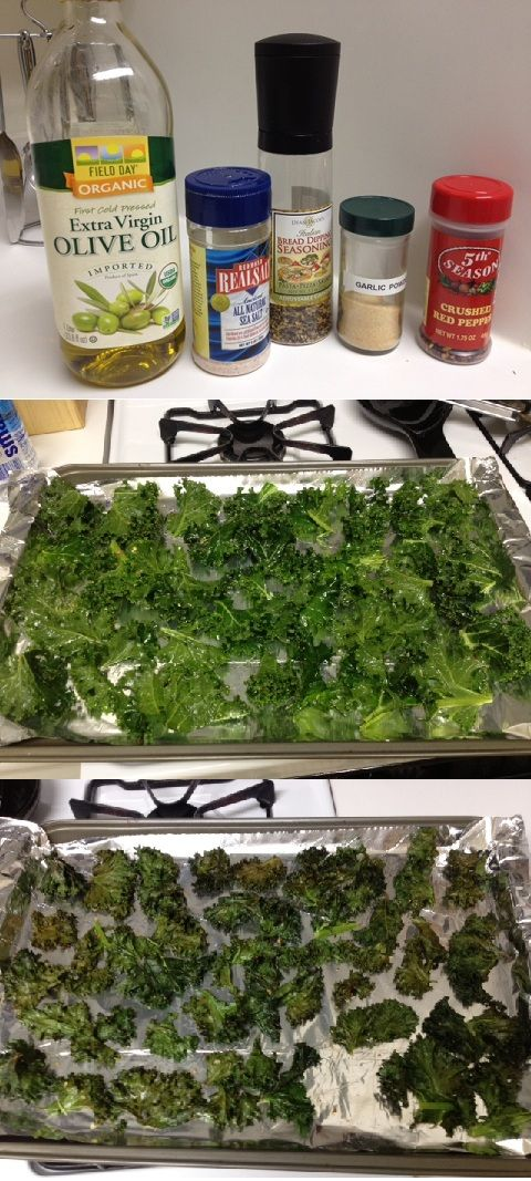 Homemade spicy garlic kale chips!        1. wash and dry kale (preferably organic)         2. tear into bite-sized pieces        3. toss olive oil, salt, garlic powder, crushed pepper flakes (or any spicy spice!) and a mix of herbs with kale leaves.        4. lay out on cookie sheet covered in foil       5. place in oven (300 degrees F)       6. bake for 20 minutes         7. enjoy!            careful not to cook too long - as you can see, a few of my kale chips were overcooked :(    I…