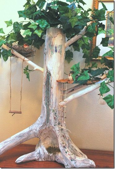 DIY fairy tree House! Cost: zero!  I'm excited about this one!! All materials are handmade from things already found around the home!! Can't wait to wood burn hubby and I's name at bottom of trunk as if we carved our names ourselves.. So cute!