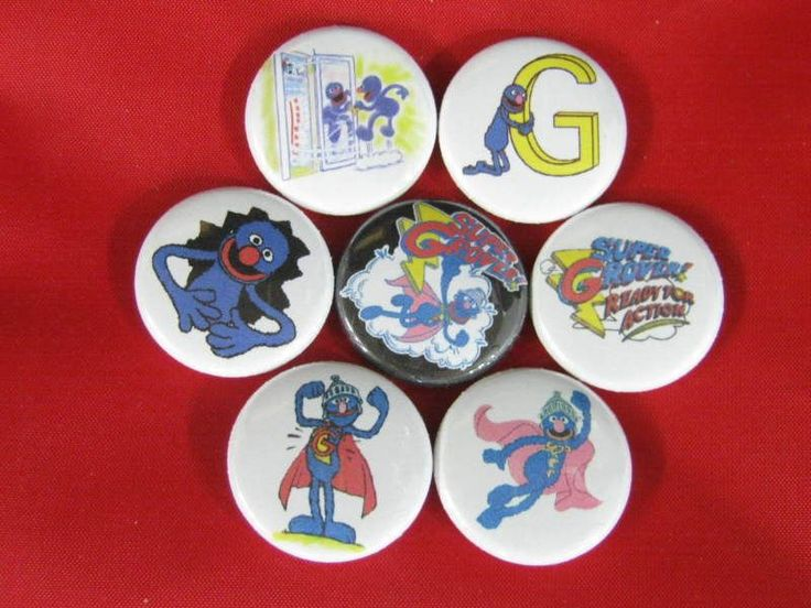 SUPER GROVER READY FOR ACTION  NEW Set of 7 Select a Size of Pinback Buttons  #wtnabrand