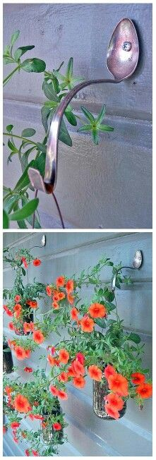 full hanging plants. spoon is a nice touch.