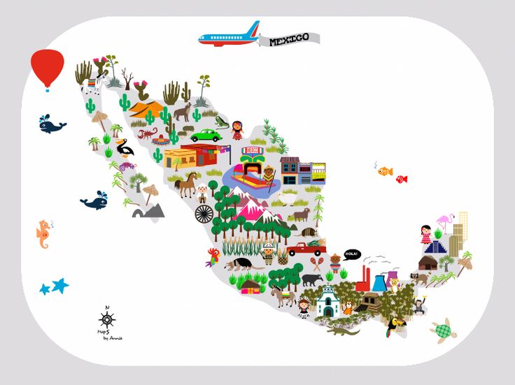 Mexico Map for kids. This map will be an eyecatcher on a kidsroom. But the map will be very instuctive as well, because you can learn kids about the world and other countries.