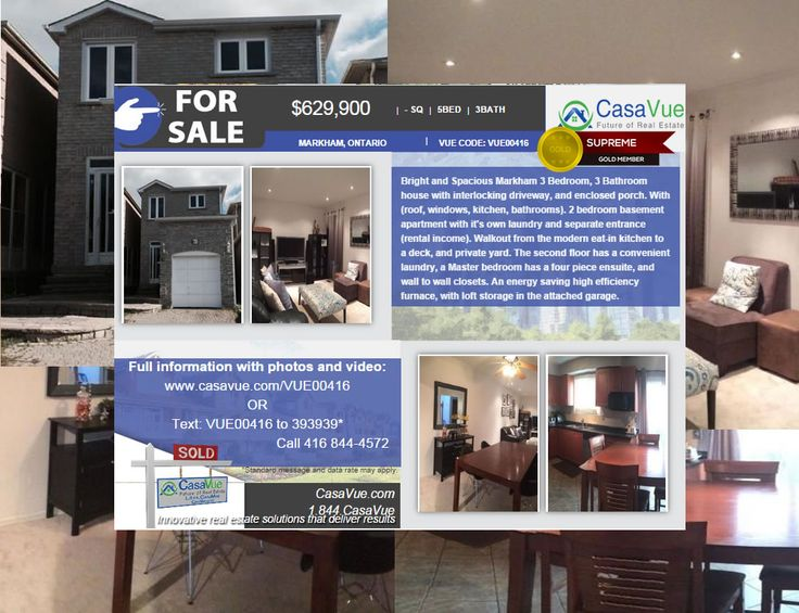 Bright and Spacious #homeforsale 5 bed 3 bath $630,000 #markham #Toronto #Ontario Details:http://bit.ly/1rr7PZF Erol Lewis 416 844-4572  Bright and Spacious Markham 3 Bedroom, 3 Bathroom house with interlocking driveway, and enclosed porch. With (roof, windows, kitchen, bathrooms). 2 bedroom basement apartment with it's own laundry and separate entrance (rental income). Walkout from the modern eat-in kitchen to a deck, and private yard.