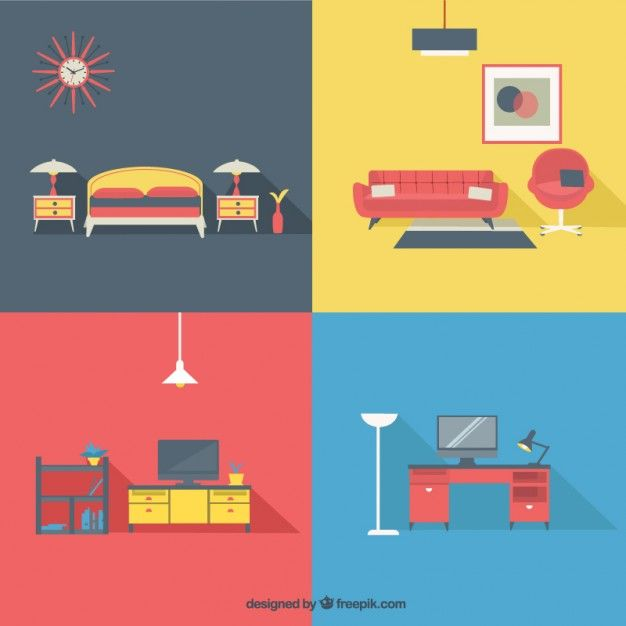 Home furniture in modern style Free Vector