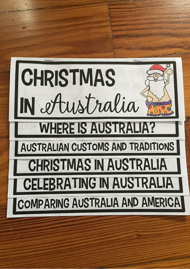 Christmas in Australia flip up book is PERFECT for Christmas Around the World! Students LOVE them and they are so easy to make. Print, one big fold, staple. Done! Everything you need for 1 country all in 1 place!