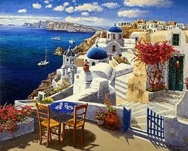 Nézd meg a Santorini, díszített Giclee, 32 x 45