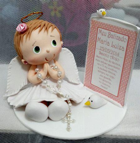 Topo de bolo Batizado - Ovelhinha de Algodão - Lembrancinhas