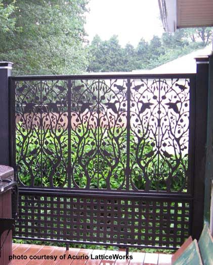 Never knew you could create panels like this. These vinyl lattice panels from Acurio Latticeworks are definitely conversation pieces. On PorchIdeas.com #railings