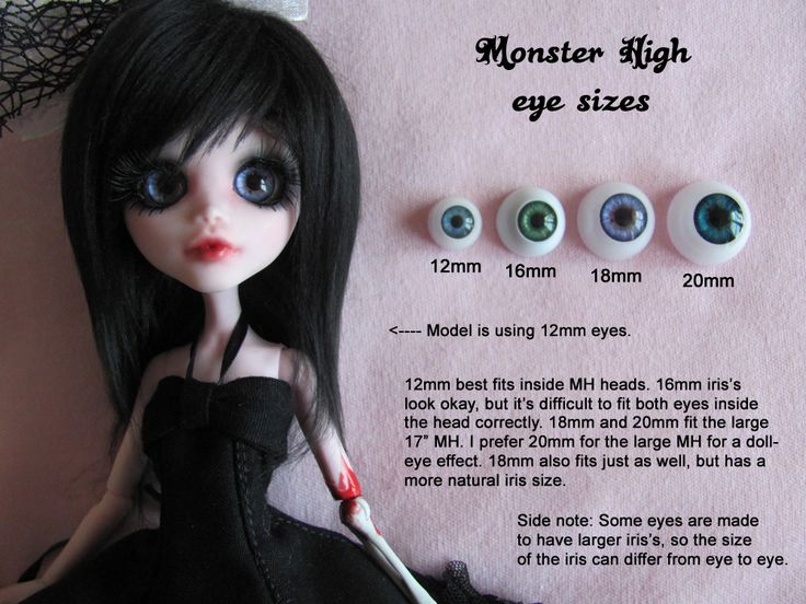 Monster High eye sizes by HavenRelis. Great ideas for the eye size you want to