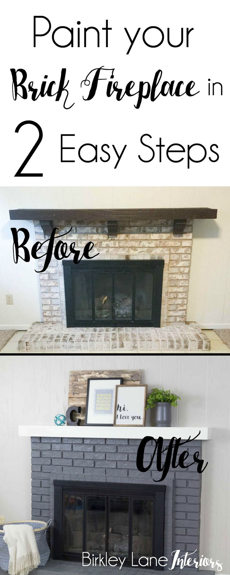 Paint your brick fireplace in two easy steps, the quick and easy way to paint your brick fireplace, how to paint a brick fireplace, brick fireplace makeover, grey fireplace brick, easy fireplace makeover, easy fireplace diy, update fireplace brick, painting a brick fireplace, pained brick fireplace