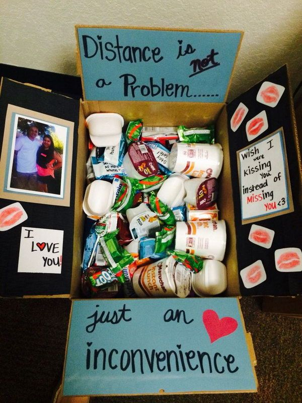 Distance isn't a problem, just an inconvenience. http://hative.com/creative-college-care-package-ideas/