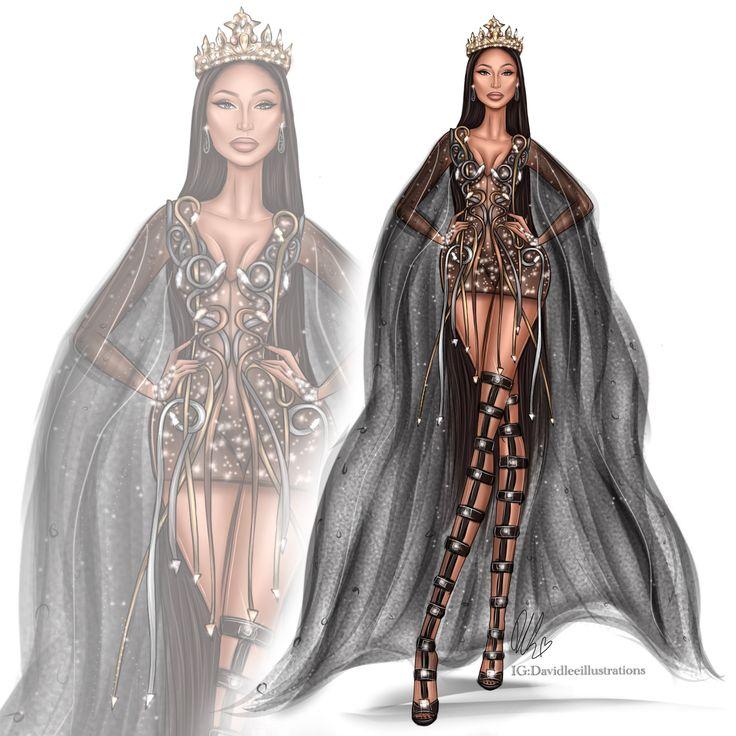 Fashion Illustration of Nicki Minaj by @DavidLeeIllustrations http://instagram.com/davidleeillustrations #FashionIllustrations #NickMinaj #Illustration