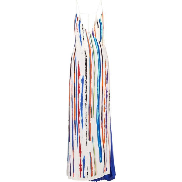 Emilio Pucci - Pleated Printed Silk-crepe Gown (€895) ❤ liked on Polyvore featuring dresses, gowns, multi, colorful gowns, white ball gowns, multi color dress, colorful dresses and travel dresses